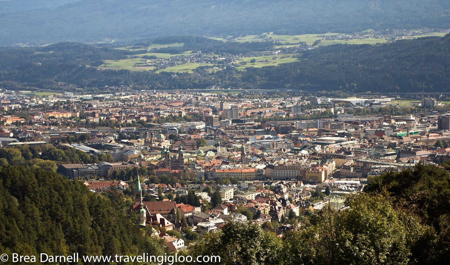 A photo of the center of Innsbruck and the Old Town