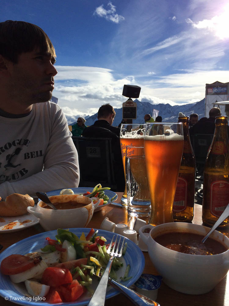 goulash suppe, salad, and a brewsky for lunch